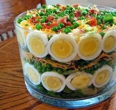 Seven Layer Salad - Delicious And Different Easter Dinner Recipes To Try - Livingly Easter Recipes, Holiday Recipes, Recipes Dinner, Easter Ideas, Easter Dinner Ideas, Spring Recipes, Spring Dinner Ideas, Brunch Ideas, Easter Crafts