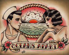 Marin et clapet tatouage traditionnel Print | Etsy