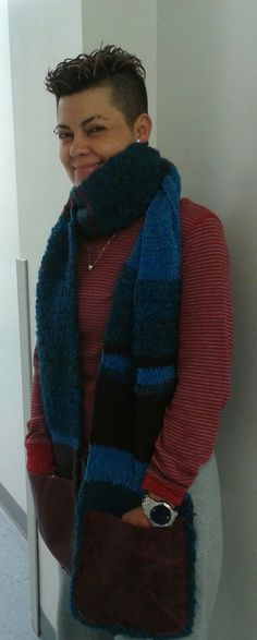 Unisex handmade scarf with leather pockets. Exclusively at Sherrissimadesigns@gmail.com