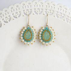 Turquoise Bridal Jewelry Gold Earring Teardrop Earrings
