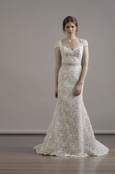 Liancarlo Style 6804 Alencon lace sweetheart neckline cap-sleeve mermaid gown in ivory/taupe