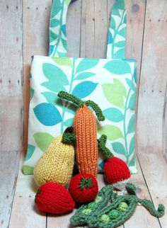 Play Food Fruit Vegetables Knit Waldorf Food by SweetBauerKnits, $45.00