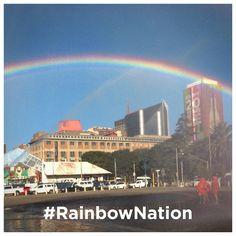 A rainbow over Johannesburg city centre Johannesburg City, Taj Mahal, Centre, This Is Us, Wraps, Tech, Rainbow, Sky, Building