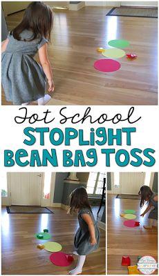 Stoplight bean bag toss is a fun gross motor game for tot school, preschool and kindergarten classrooms!