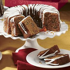 Carrot Bundt Cake from The Swiss Colony® Scoops of Mother Nature's finest carrots, walnuts, and cinnamon are the base of this rich, flavor-studded cake. www.swisscolony.com