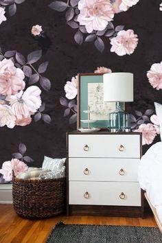roses flower watercolor dark self adhesive wallpaper
