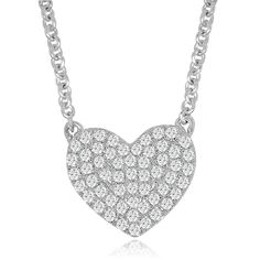 This cute dainty heart necklace is the perfect daily sparkle!! Made in sturdy genuine Sterling Silver with a beautiful Rhodium finish and adorned with top quality CZ.  Specifications: - Length = 16.5in-18in (with extended chain) - Width = 0.5in - Weight = 3.1gr - Clasp = Lobster Clasp