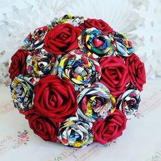 Paper Flower Bouquet origami kusudama red gold by PaperBouquetsUK