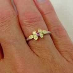 Tiny Hydrangea and Pink Sapphire ring 18k by PatrickIrlaJewelry, $226.00