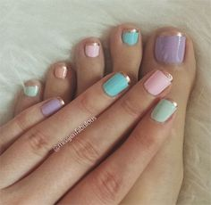 pastel with gold french toenail design