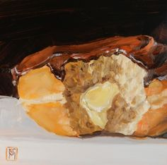 Boston Cream Donut 6x6 Inch Original Oil Painting, painting by artist Kelley MacDonald