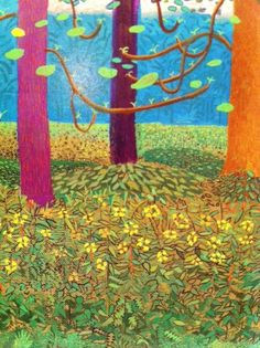 David Hockney Landscapes, David Hockney Artist, David Hockney Ipad, David Hockney Paintings, Robert Rauschenberg, Landscape Drawings, Landscape Art, Edward Hopper, Pop Art Movement
