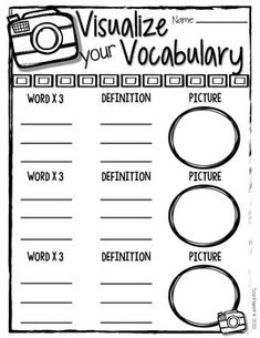 templates for vocabulary words
