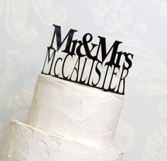 KEEPSAKE TOPPER: Personalized Custom Wedding Cake Topper with YOUR Last Name and Removable Stakes