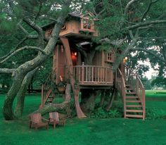 I love this because it would have more than one room and how it's shaped is so different! Perfect tree house