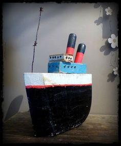 ocean liner driftwood boat art brut bois flotté