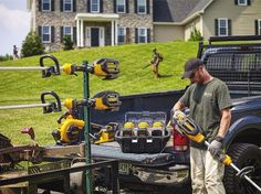 DeWalt 40V Max 6-Pack Charging Station  Lithium-ion is desperately trying to take hold in the commercial landscaping sector, but is running into resistance on several levels. One is run time. You pretty much have two ways to add more run time to lithium-ion OPE: carry bigger batteries or carry more of them.  DeWalt finds a bit of a happy medium between the two with a 7.5 amp hour battery pack option and the ability to store and charge six at a time. Do the math on that an