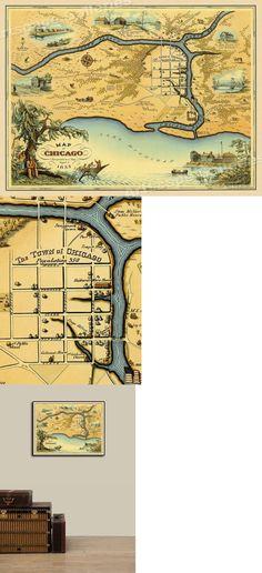 20x30 Bird/'s Eye View 1870 Dayton Ohio Vintage Style City Map