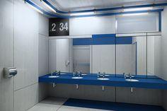 Projekt wnętrz łazienki koło - dworzec centralny w warszawie - projekt konkursowy - malinowski studio