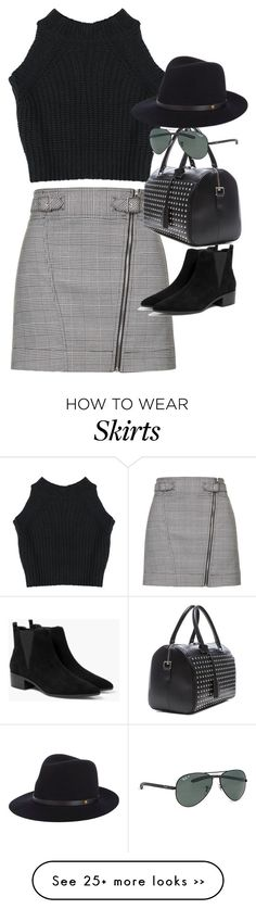 """""""Inspired outfit with a check skirt"""" by whathayleywore on Polyvore featuring Topshop, MANGO, Yves Saint Laurent, Ray-Ban and rag & bone"""