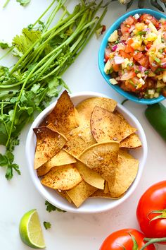 Ditch the processed store-bought chips and learn how to make tortilla chips at home. In three different flavor varieties, you will never need to buy tortilla chips again! Plus they're baked making them a healthy snack. #homemade #tortillachips #healthytortillachips #diy #glutenfree #vegan