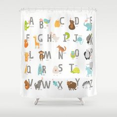 Kids Shower Curtain Animal Alphabet Woodland Animals ABC Boy Or Girl Child Bath Room Decor