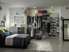 Wardrobes that Wow : Interior Remodeling : HGTV Remodels- the wire shelves make thos an affordable and removable wardrobe that you can make yourself