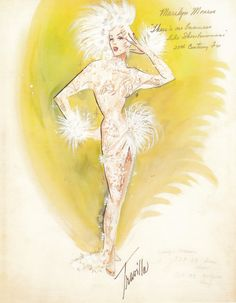 Costume sketch for Marilyn Monroe / There's No Business like Show Business by William Travilla.
