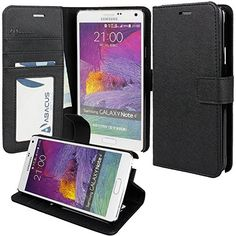 cccb5048b51ef Amazon.com  Samsung Galaxy Note 4 Case Okeyn Series Luxury Wallet PU  Leather Case Flip Cover Built-in Card Slots   Stand for Samsung Galaxy Note  4 (Black)  ...