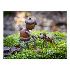 Nature Crafts Acorn elf with a acorn dog postcard -nature diy customize sprecial design Nature Crafts, Fall Crafts, Christmas Crafts, Crafts For Kids, Arts And Crafts, Kids Diy, Kids Christmas, Acorn Crafts, Pine Cone Crafts