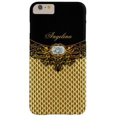 Elite Regal Gold Honeycomb Black Diamond Jewel Barely There iPhone 6 Plus Case