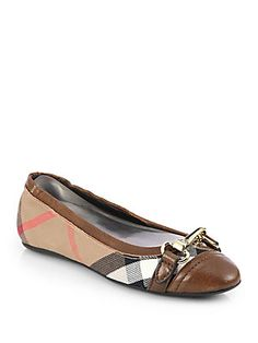Burberry Shipley Check Ballet Flats $350 Size 7 Color Darktan