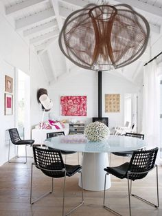 beach house dining room with oversized pendant