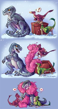 'Tis the season To Make Your Loved One's Spirit 'SAUR! The illustration used for my Christmas cards this year :) Featuring poor old JP raptor, being gifted some warm feathers of his own by two smaller. Lego Jurassic Park, Jurassic World Set, Jurassic Park Poster, Jurassic World Fallen Kingdom, Dinosaur Drawing, Dinosaur Art, Poster Print, Bryce Dallas Howard, Spinosaurus