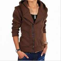 Newest Fashion modelling of inclined zipper  TOPS (Black,Coffee,Dark,Blue,Gray) Hoodies from stylishplus.com