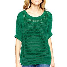 a.n.a® 3/4 Sleeve Wide Crew-Neck Top - jcpenney