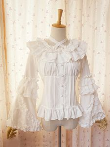 Sweet Lolita Blouse Lace Long Hime Sleeves Neck Straps Round Ruffles Collar