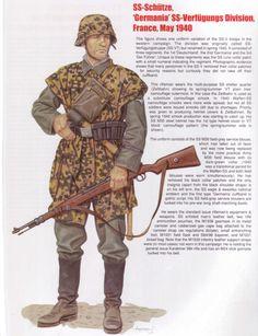 "Waffen SS - SS-Shuetze, Waffen SS ""Germania "" Verfugungs Division, Francia 1940"