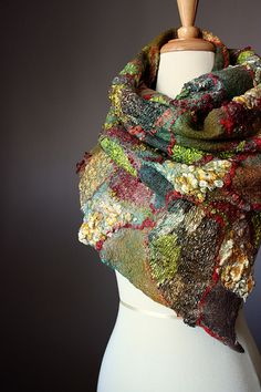 Nuno felted scarf / wrap wool silk shades of Olive