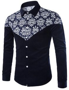Color Block Ethnic Print Splicing Shirt Collar Long Sleeve Slimming Stylish Corduroy Shirt For Men