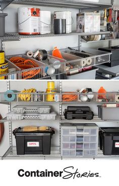 elfa shelving gets everything up off the floor. Shelf Baskets are a great way to organize and separate all kinds of things from paper tools to tools!