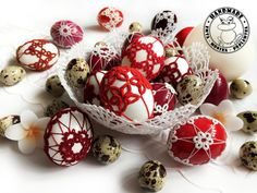 SHADES OF RED and white Easter eggs on real eggshells Easter | Etsy Crochet Ornaments, Handmade Ornaments, Handmade Home, Etsy Handmade, Easter Toys, Easter Table Decorations, Lace Decor, Shades Of Red, Easter Baskets