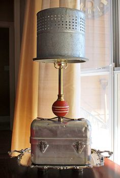 No 4 Upcycled Lamp with Vintage Aluminum Lunchbox by GadgetSponge, $225.00