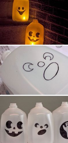 Milk Jug Ghosts Click Pic for 21 Easy DIY outdoor Halloween Decorating Ideas DIY Fall Decorations for Outside Yards Deco Haloween, Sac Halloween, Outdoor Halloween, Halloween Projects, Holidays Halloween, Halloween Treats, Halloween Party, Halloween Mural, Halloween Scene