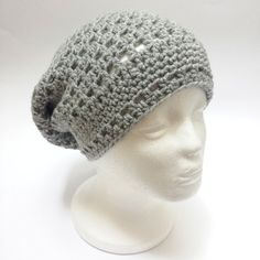Crochet Hat Beanie Slouch  Grey Cade Cap For by SophiesKnitStuff