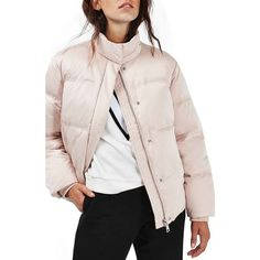 Women's Topshop Emily Puffer Jacket ($130) ❤ liked on Polyvore featuring outerwear, jackets, pink, pink jacket, puffy jacket, funnel neck jacket, topshop jackets and pink puffer jacket
