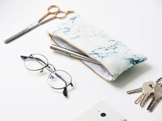 // PRE-ORDER : Sent from August 10th ! The remedy: Organic cotton pencil case with white and blue marble pattern. Original gift for a…