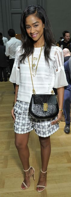Vashtie Kola accessorises a Fall 2015 look with the Drew in striking black