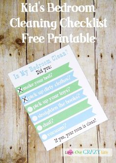 Free Kid's bedroom cleaning checklist #organizing, #kids