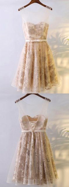 champagne tulle homecoming dresses,lace short prom party dress,lace up back dress for girl